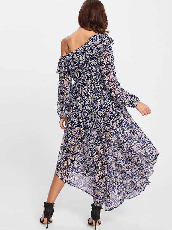 Navy Floral Frill Off the Shoulder Dress
