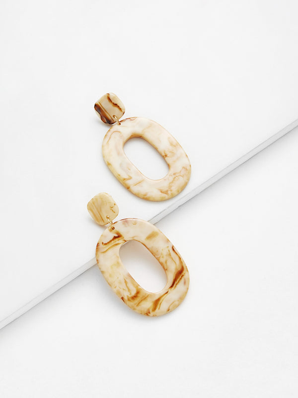 Resin Drop Hoop Swirl Earrings