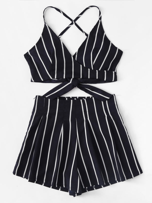Stripe Crop Top and High Waist Shorts Set