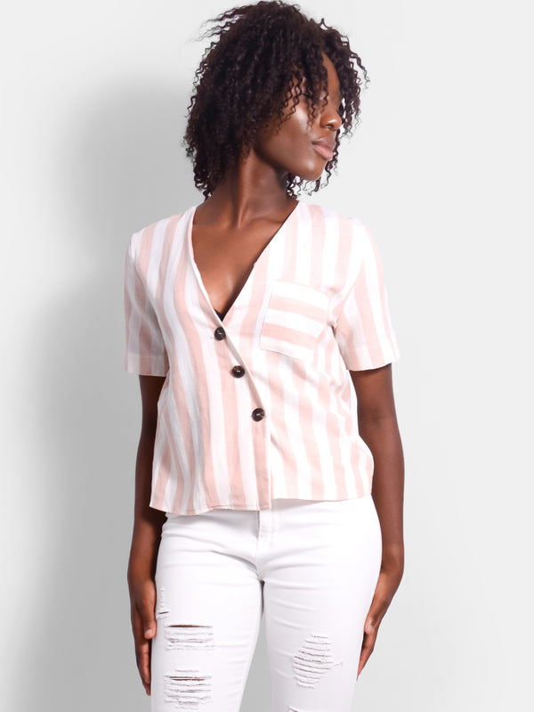Sunday Stripe Linen Top