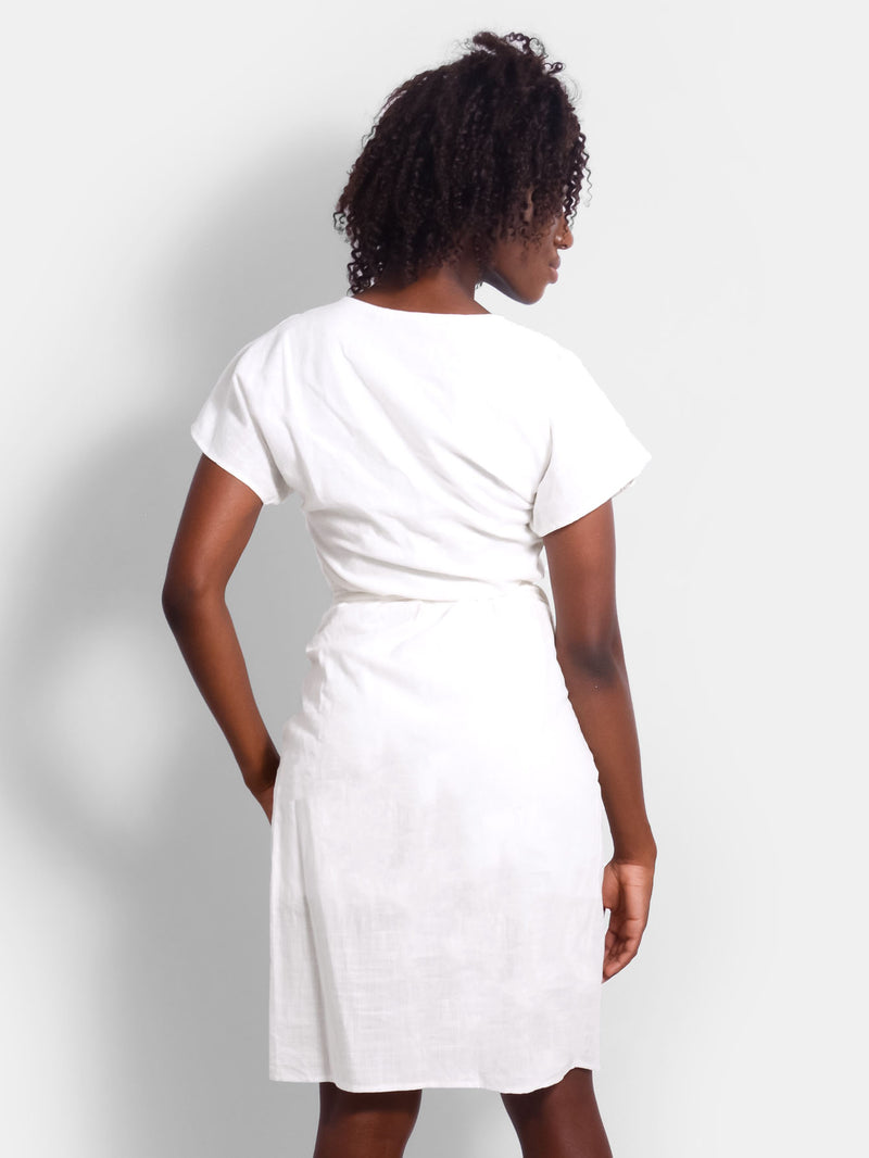 Sunshine White Linen Wrap Dress