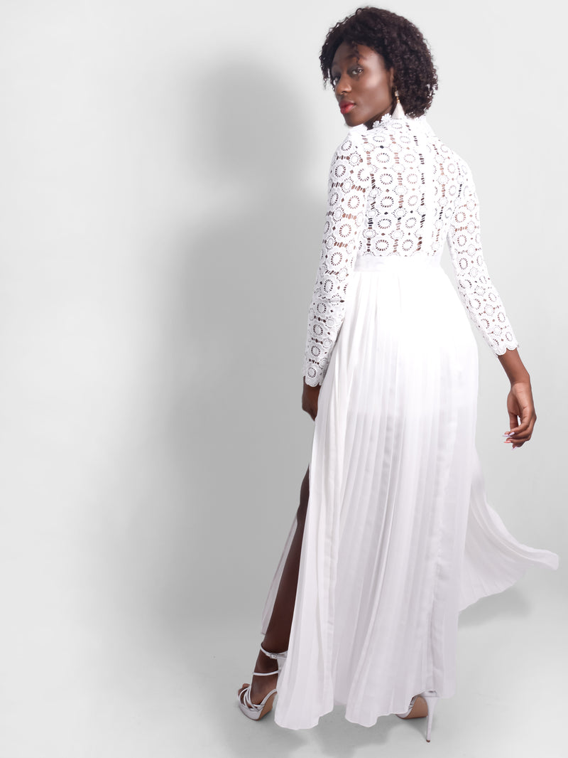 Celestial Lace Long Sleeve Slit Dress