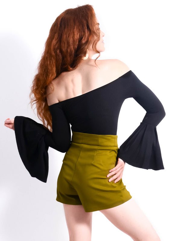 Tailored High Waisted Green Shorts