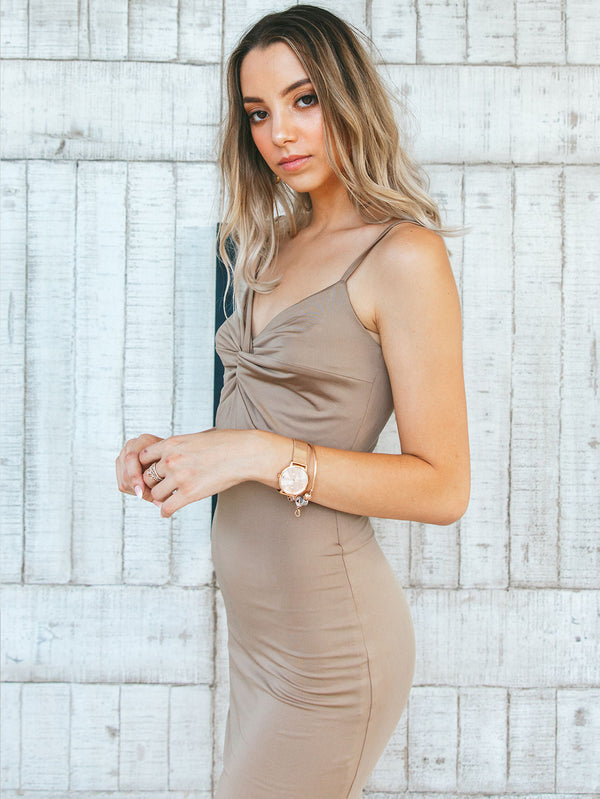French-Twist Bodycon Midi Dress