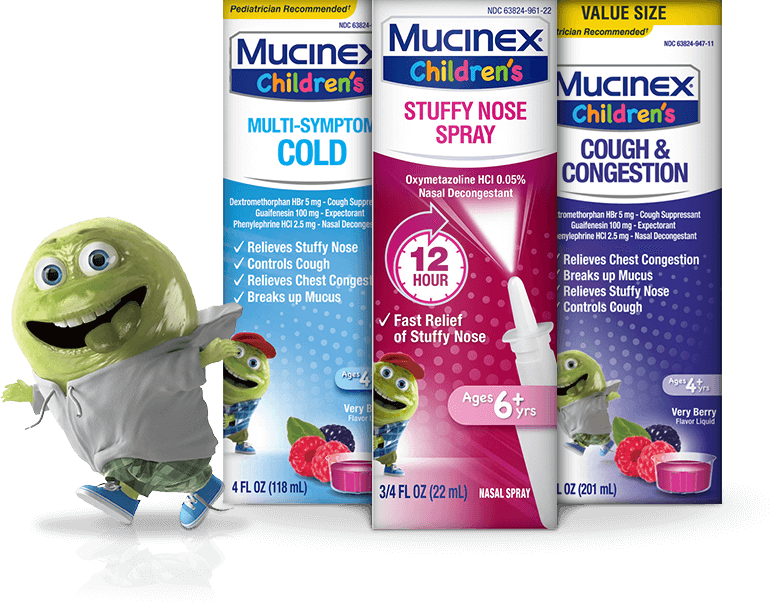 Mucinex® Childrens available in Nasal Spray and Very Berry Flavoured Liquid. Fights Multi-Symptom Cold, Stuffy Nose, Cough and Congestion