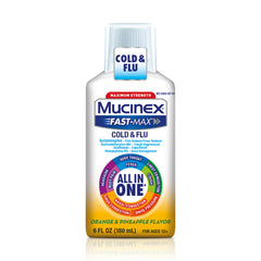 Mucinex Fast-Max Maximum Strength All-In-One Cold & Flu, Orange & Pineapple, 6oz