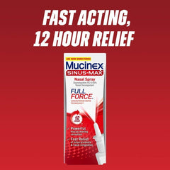 Mucinex Sinus Relief Bundle: Mucinex Sinus-Max Full Force Nasal Decongestant Spray (0.75oz) & Mucinex Sinus-Max