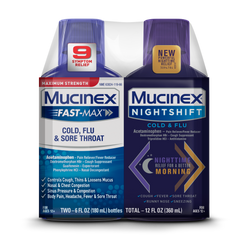 Maximum Strength* MUCINEX® FAST-MAX® Cold, Flu, & Sore Throat & MUCINEX® Nightshift ® Cold & Flu
