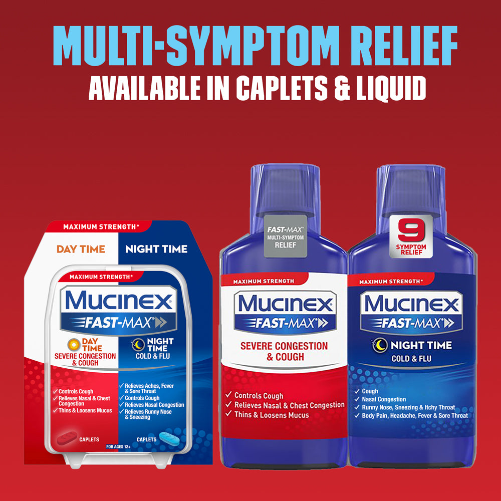 Maximum Strength Mucinex® Fast-Max® Day Severe Congestion & Cough & Night Cold & Flu Caplets, 30ct.
