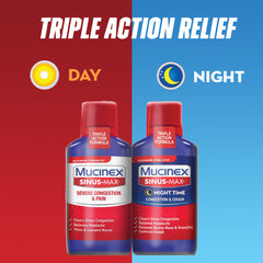Maximum Strength Mucinex® Sinus-Max® Day Time Severe Congestion Relief & Night Time Congestion & Cough Liquid, 2x6oz.