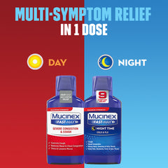 Maximum Strength Mucinex® Fast-Max® Day Time Severe Congestion & Cough & Night Time Cold & Flu Liquid, 2x6oz.