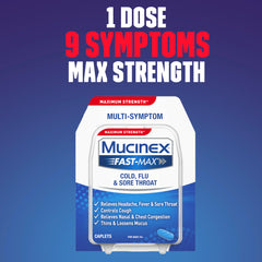 Maximum Strength Mucinex Fast-Max Cold, Flu & Sore Throat Caplets, 8ct