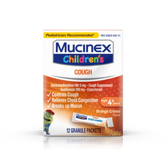 Mucinex Children's Mini Melts Chest Congestion Expectorant Bubble Gum 12 Ct & Cough Suppressant Orange Creme 12 Ct