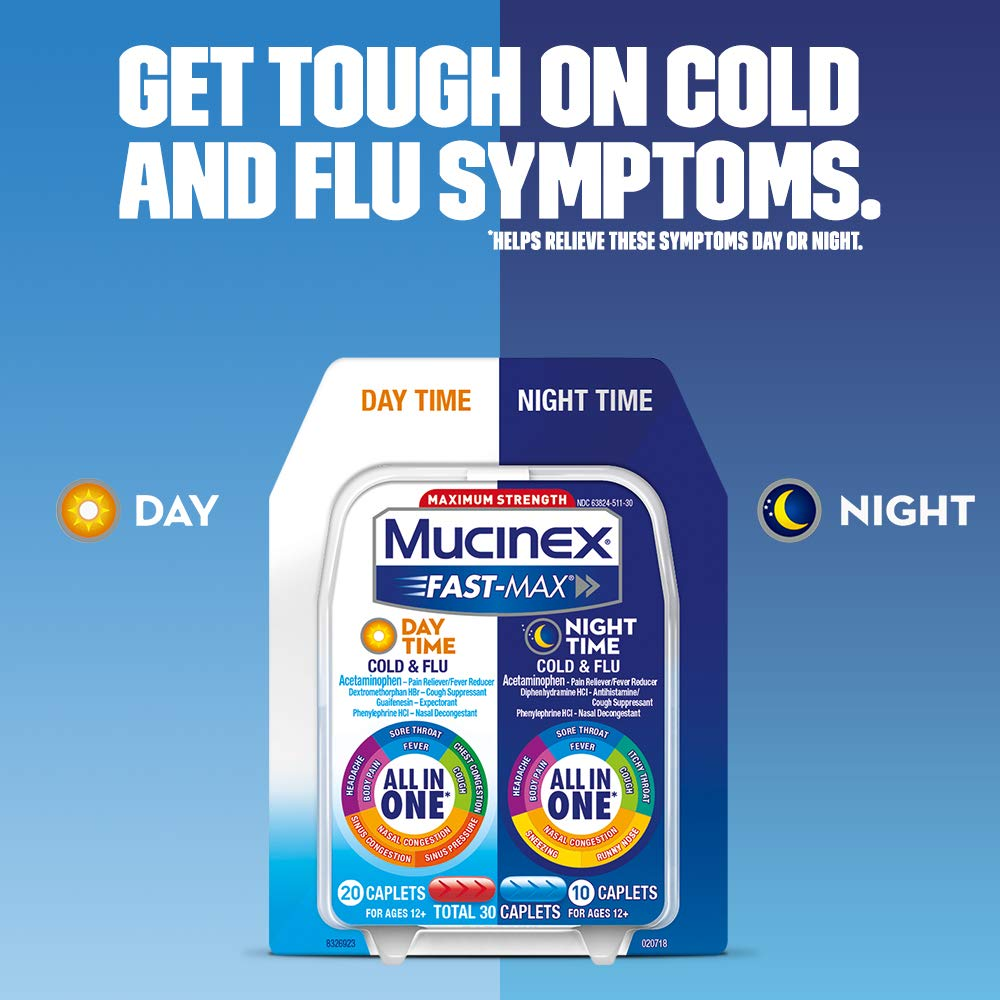 Maximum Strength Mucinex® Fast-Max® Day Severe Cold & Night Cold & Flu Caplets, 30ct