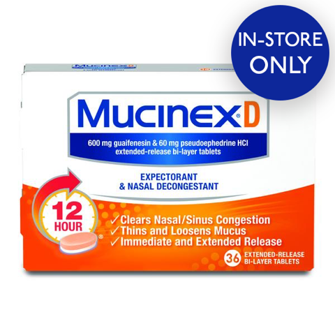 Mucinex® D Expectorant and Nasal Decongestant Tablets, 36 ct. - IN STORE ONLY
