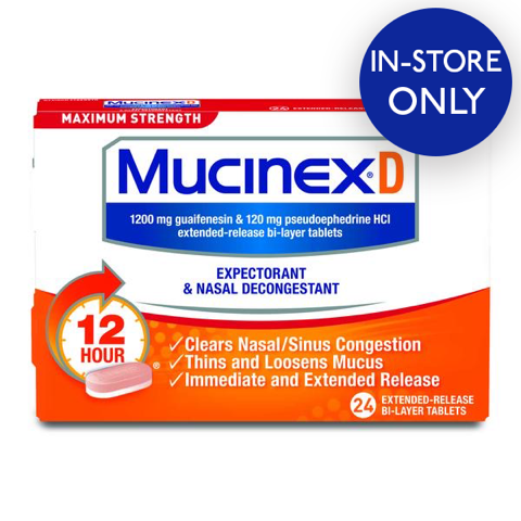 Mucinex® D Maximum Strength Expectorant and Nasal Decongestant Tablets, 24 ct. - IN STORE ONLY