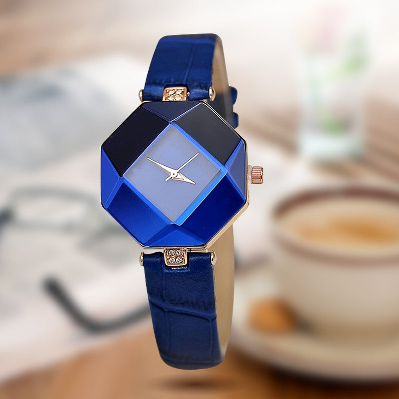Women Gem Cut Crystal Leather Quartz Wristwatch