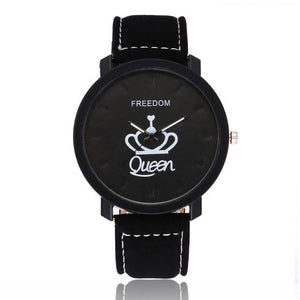 Couple's King/Queen Leather Watch