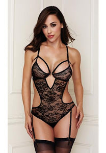 Tami - Cutout Lace Teddy/ Garter Set