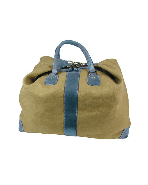 Natural linen weekend bag with adjustable, detachable shoulder strap, double sliding zipper with tassel tags, light blue real Italian leather trim, side view without strap.