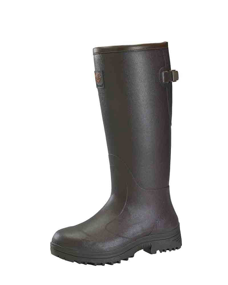 Dark Brown Ladies Rubber Boots by Gateway1 Footwear, Pheasant Game Lady Boots, with Adjustable Gusset at Top of Calf with Extra Grip Mud Field Footbed