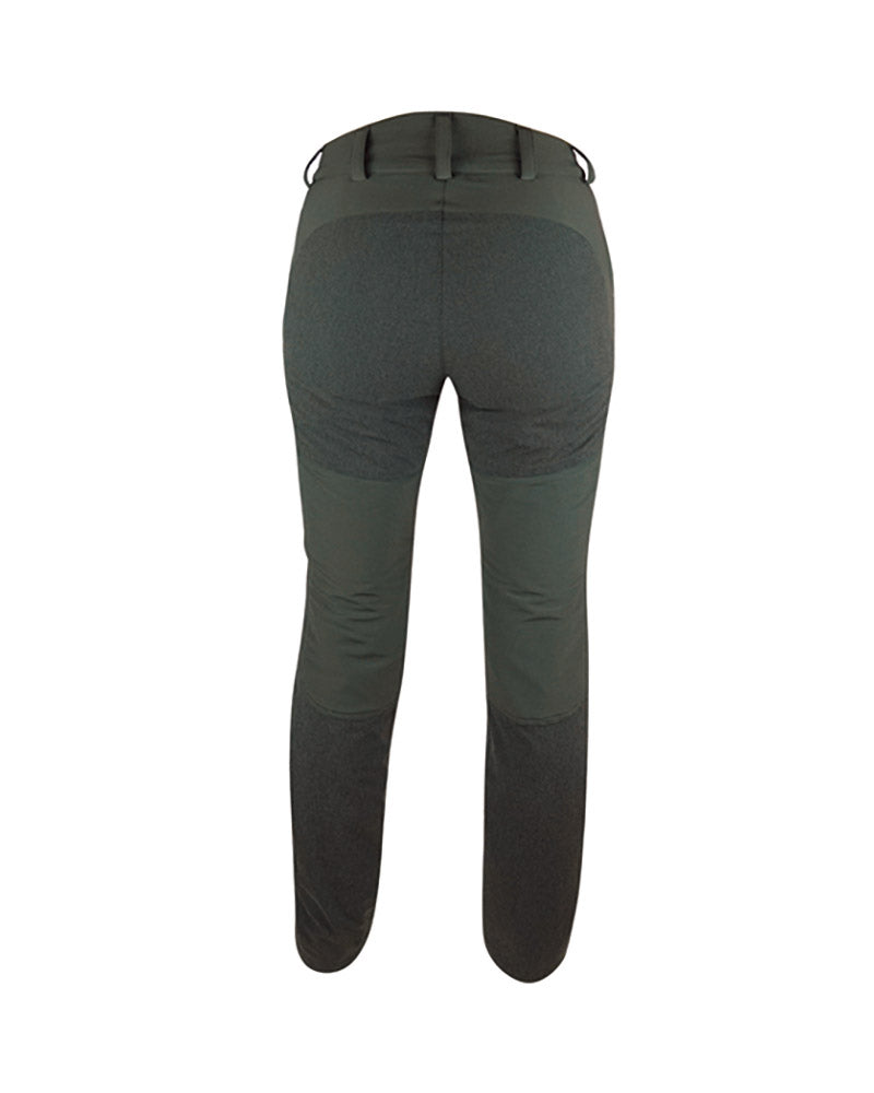 Forest green ladies waterproof hunting trousers with contrasting logo and detail, form fitting high backed waistband with wide belt loops, kevlar inserts the back and lower legs with detachable inner gaiters, front pockets with zips, hook to boot laces, back view.