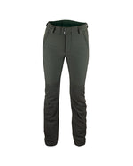 Forest green ladies waterproof hunting trousers with contrasting logo and detail, form fitting high backed waistband with wide belt loops, kevlar inserts the back and lower legs with detachable inner gaiters, front pockets with zips, hook to boot laces, front view.
