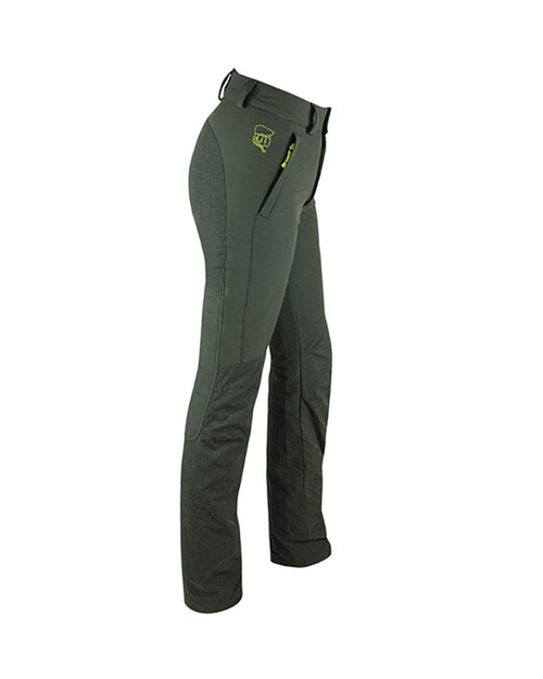 Forest green ladies waterproof hunting trousers with contrasting logo and detail, form fitting high backed waistband with wide belt loops, kevlar inserts the back and lower legs with detachable inner gaiters, front pockets with zips, hook to boot laces, side view.