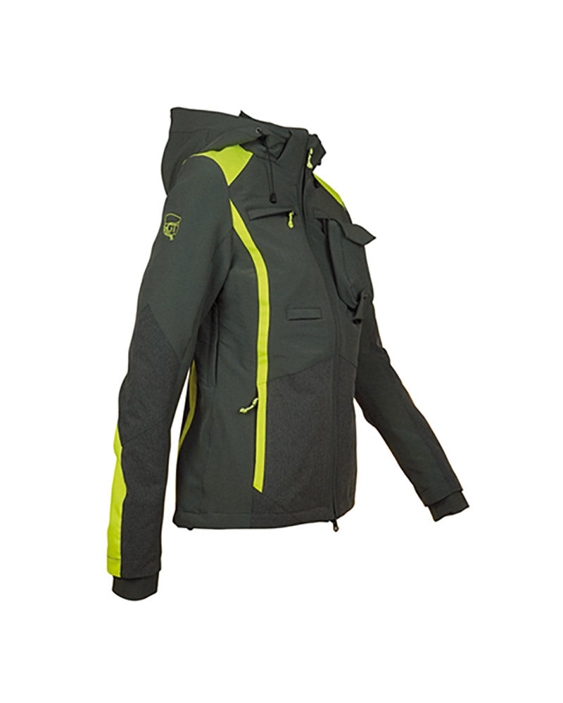 Ladies waterproof forest green hunting jacket with high visibility yellow panels, Kevlar reinforcement inserts, side ventilation zips, high collar, detachable hood, chest pockets with zips, inner pockets, side pockets with zips, double zip access large game pocket across the back, detachable radio pocket, storm cuffs, front view, hood shown.