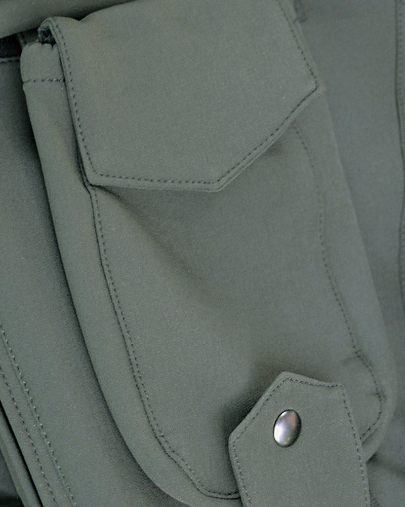 Detachable radio pocket detail in forest green on Timau HV ladies jacket by GT Outdoors