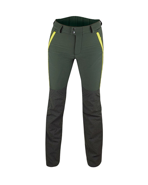 Forest Green ladies waterproof hunting and outdoor trousers with high visibility yellow panels, Kevlar inserts, formfitting high backed waistband with wide belt loops, detachable inner gaiters, front view.