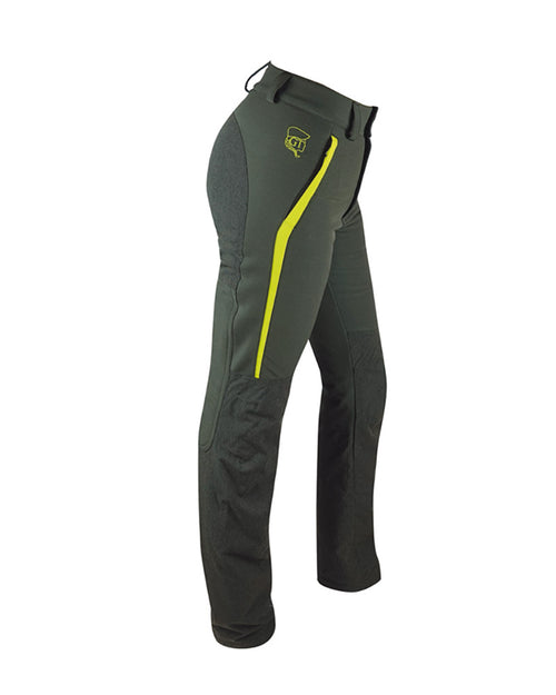 Forest Green ladies waterproof hunting and outdoor trousers with high visibility yellow panels, Kevlar inserts, formfitting high backed waistband with wide belt loops, detachable inner gaiters, side view.