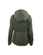 Ladies waterproof forest green hunting jacket with Kevlar reinforcement inserts, side ventilation zips, high collar, detachable hood, chest pockets with zips, inner pockets, side pockets with zips, double zip access large game pocket across the back, detachable radio pocket, storm cuffs, back view, hood shown.