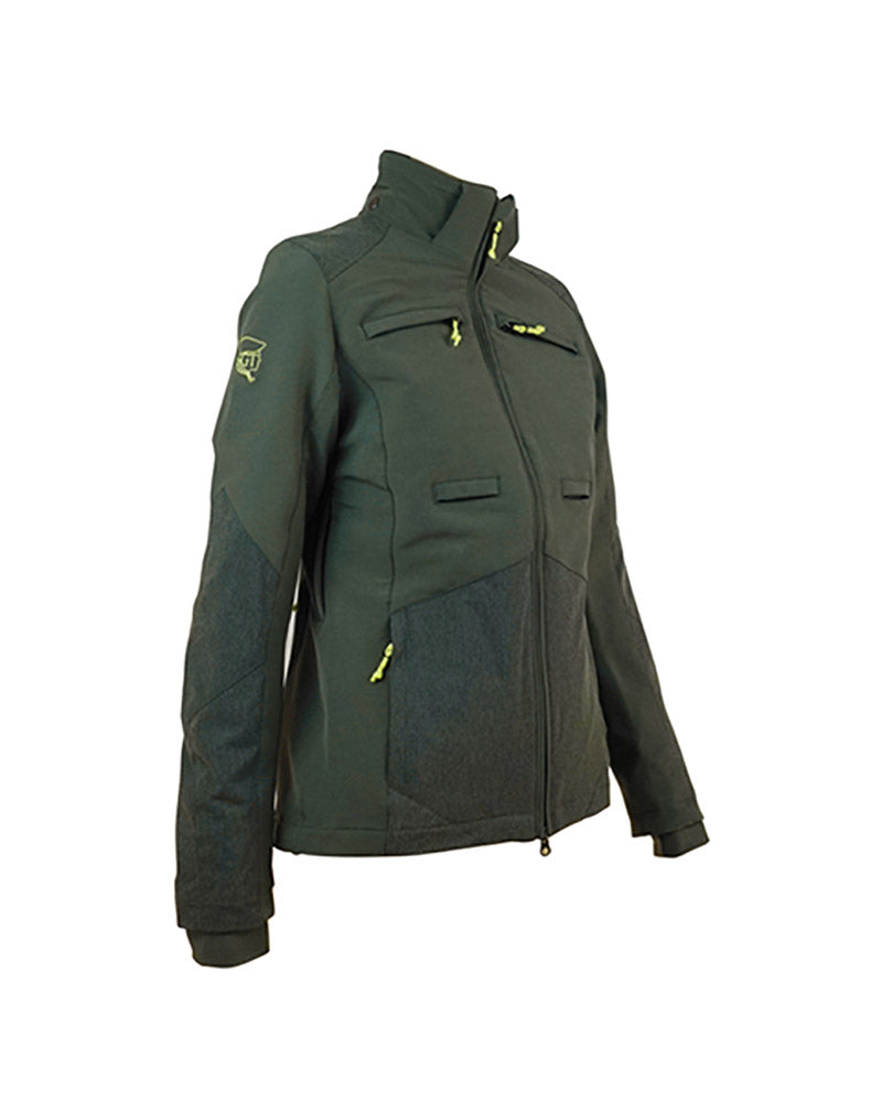 Ladies waterproof forest green hunting jacket with Kevlar reinforcement inserts, side ventilation zips, high collar, detachable hood, chest pockets with zips, inner pockets, side pockets with zips, double zip access large game pocket across the back, detachable radio pocket, storm cuffs, front view, hood not shown.