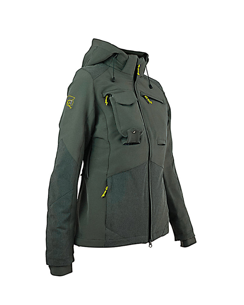 Ladies waterproof forest green hunting jacket with Kevlar reinforcement inserts, side ventilation zips, high collar, detachable hood, chest pockets with zips, inner pockets, side pockets with zips, double zip access large game pocket across the back, detachable radio pocket, storm cuffs, front view, hood shown.