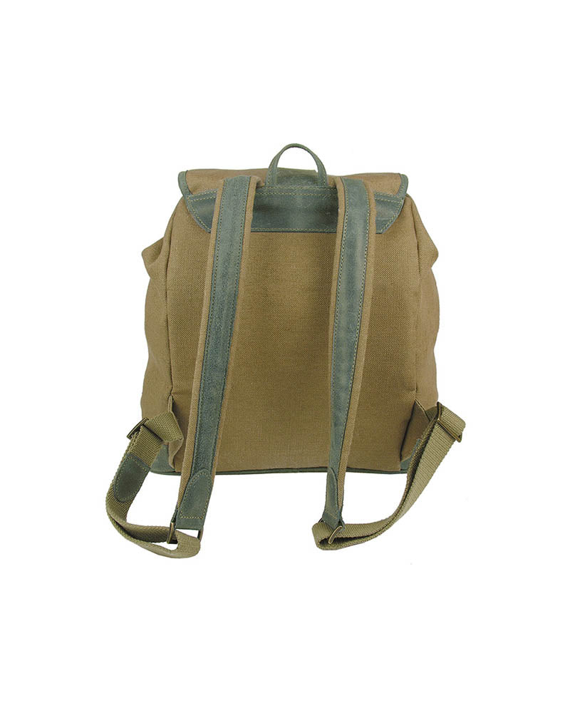 Ladies natural linen backpack with real italian leather trim and inlay in forest green, with two outer pockets, draw string top with leather tassels, buckle closing top flap, adjustable straps, back view.