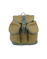 Ladies natural linen backpack with real italian leather trim and inlay in forest green, with two outer pockets, draw string top with leather tassels, buckle closing top flap, adjustable straps, front view.