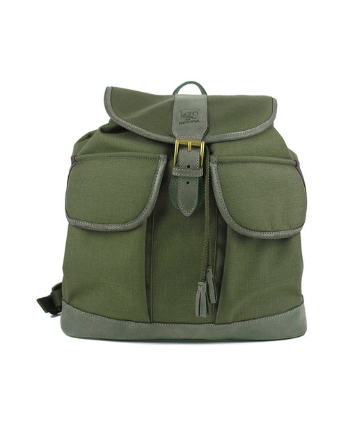 Ladies lightweight cordura backpack with real Italian leather trim in forest green, adjustable straps, inner pocket, two outside pockets, draw cord closing top with stylish leather tassels, flap top closure with buckle, front view.