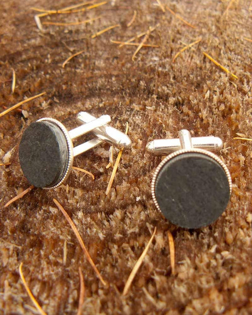 J Boult DesignsSlate Silver Plated CufflinksCufflinksLady Hunter UK