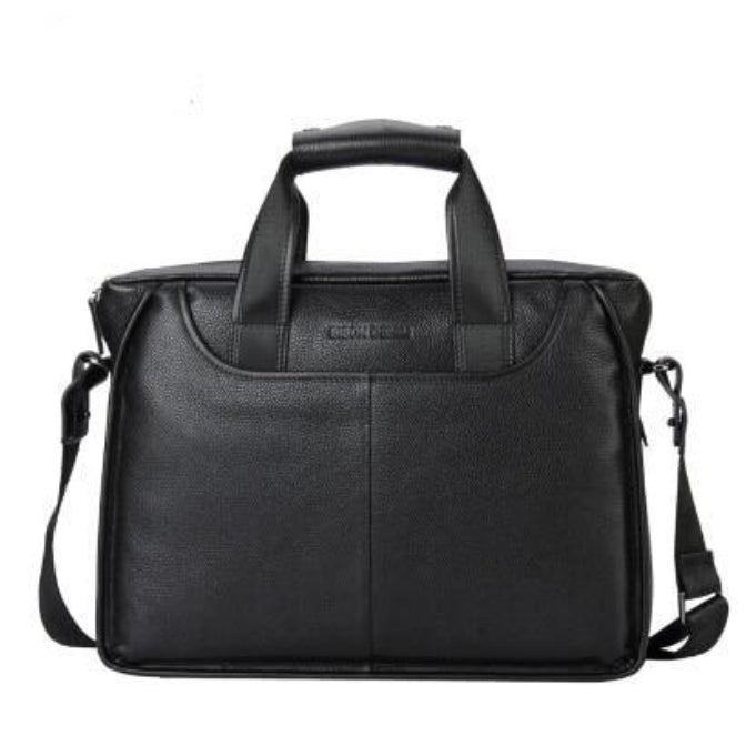 "Genuine Full Grain Leather 14"" Briefcase For Men - 2 Colors"
