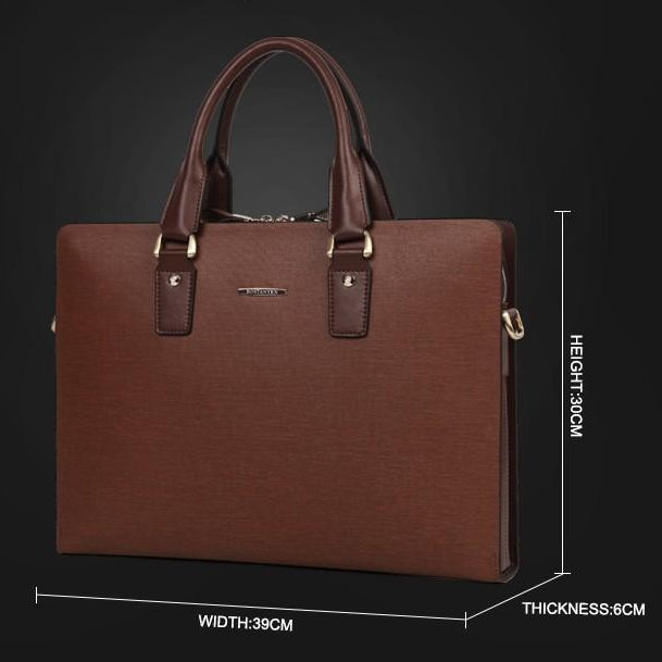 "Genuine Split Leather 14"" Briefcase For Men - 2 Colors"