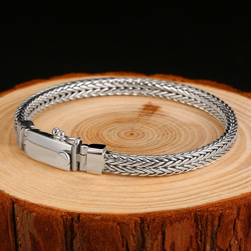 925 Sterling Silver 5mm Weave Bracelet For Men