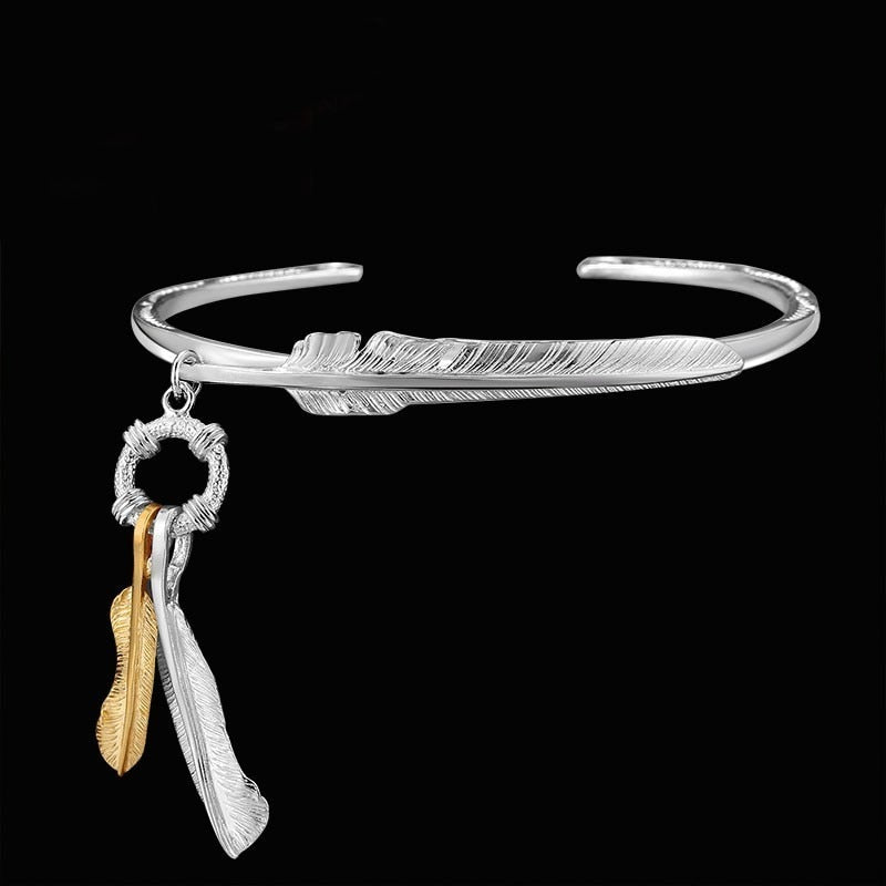 925 Sterling Silver Feather Bracelet For Men