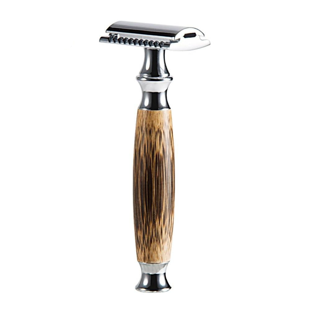 Bamboo Double Edged Safety Razor With 10 Blades
