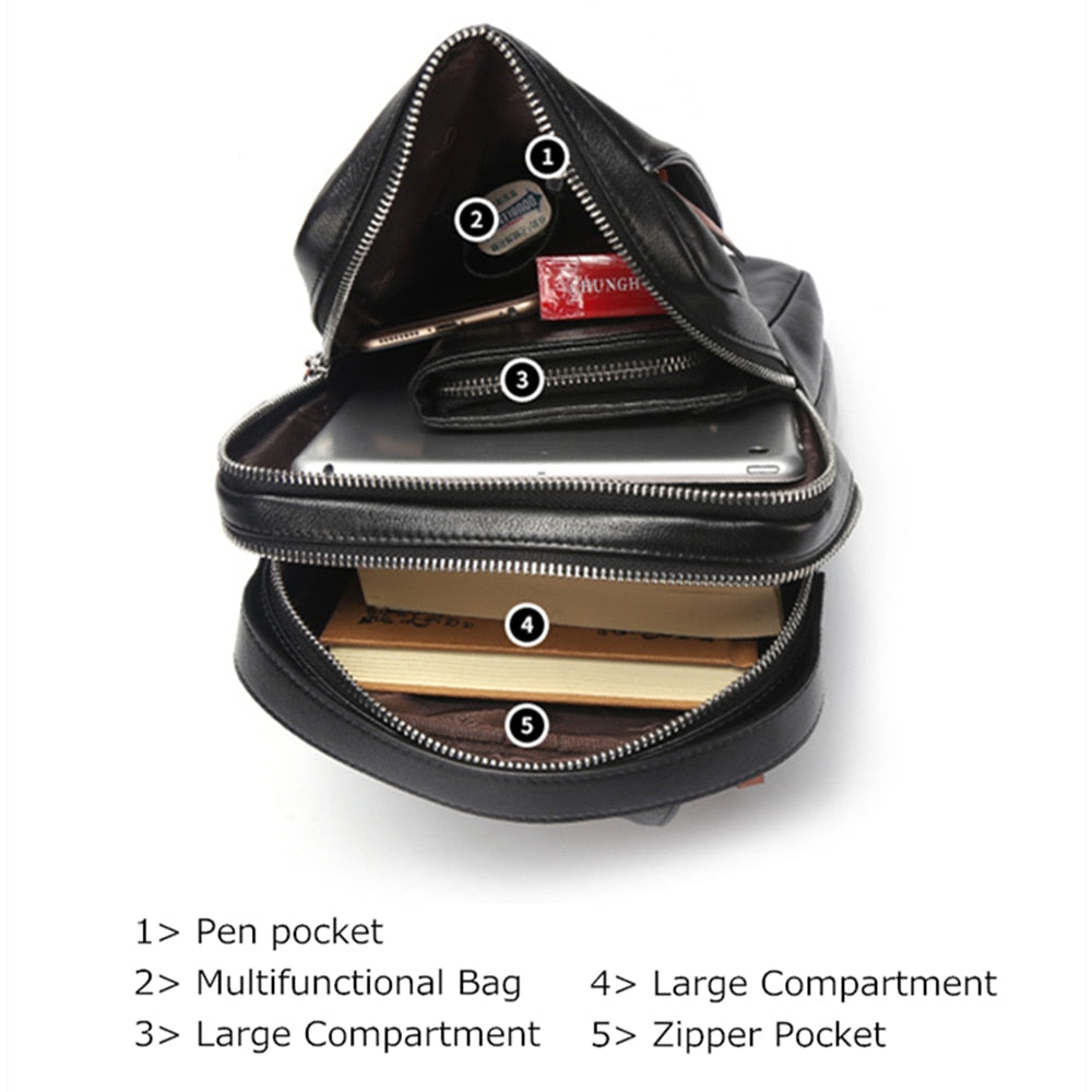 Genuine Leather Shoulder Bag For Men - 3 Sizes