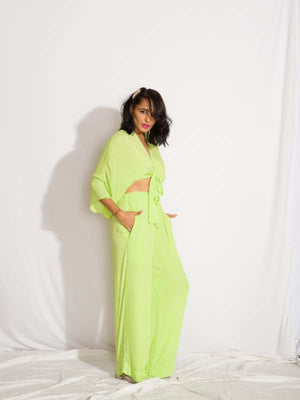 Neon Two Piece Set N (Lolita Crop Top and High Waist Pants)