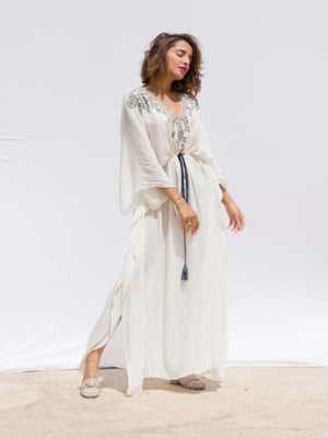 kafta maxi Since 1988 resort wear resort-wear embroidery  rayon  Sunday brunch dinner date dress dry clean