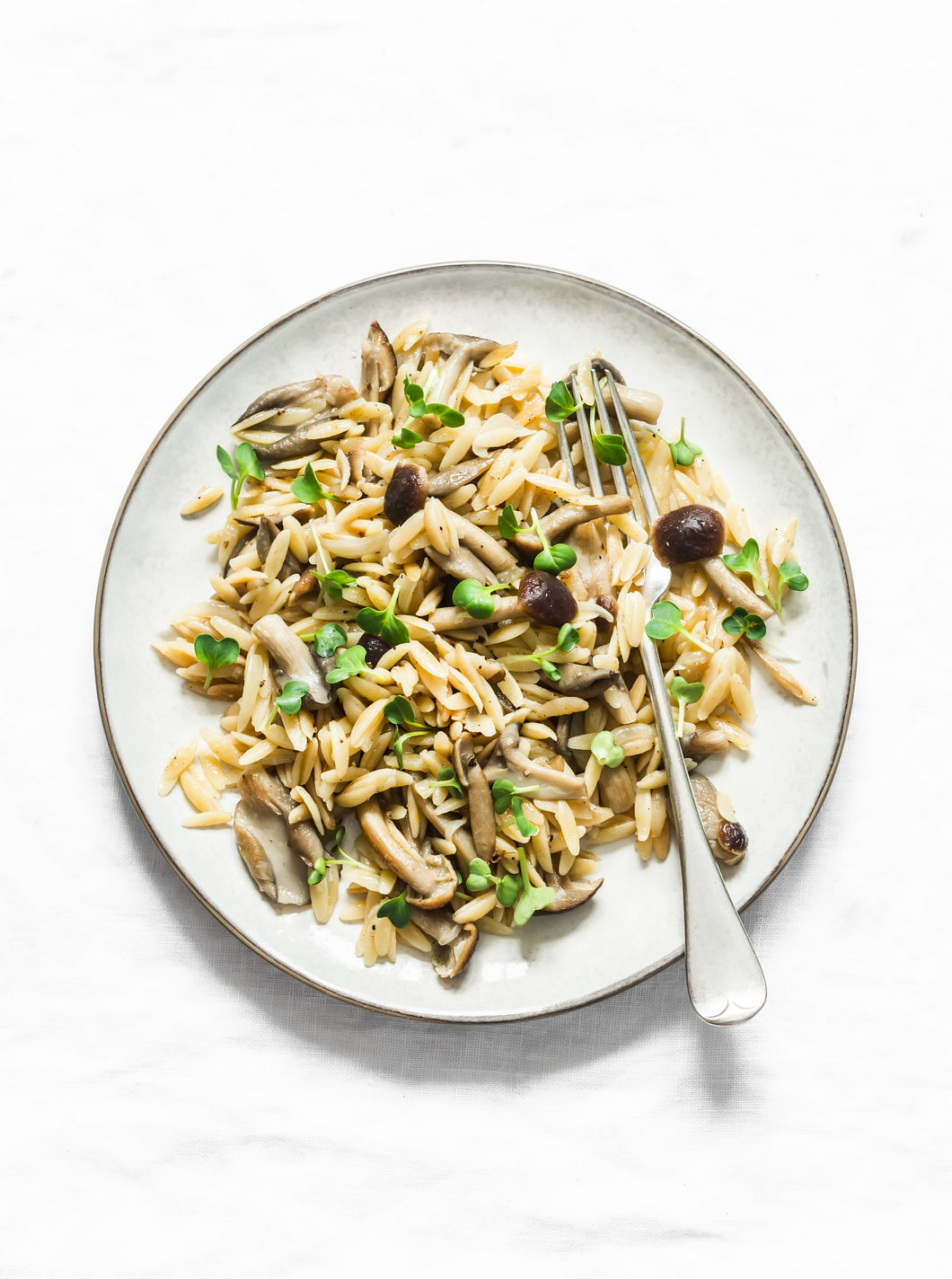 Toasted Orzo and Rice with Brussels Sprouts and Mushrooms