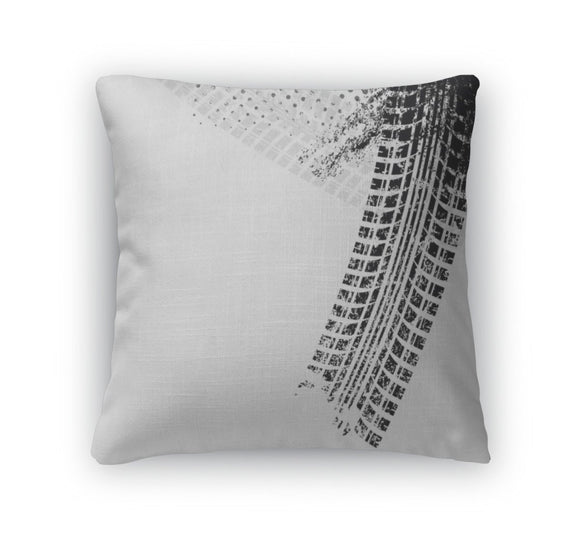 Throw Pillow, With Grunge Black Tire Track - Throw Pillow - Payabee Home Goods