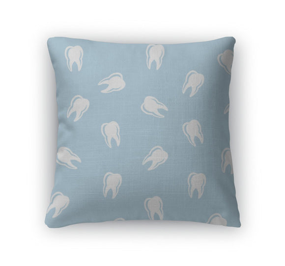 Throw Pillow, Dental Pattern White Teeth On Blue - Throw Pillow - Payabee Home Goods